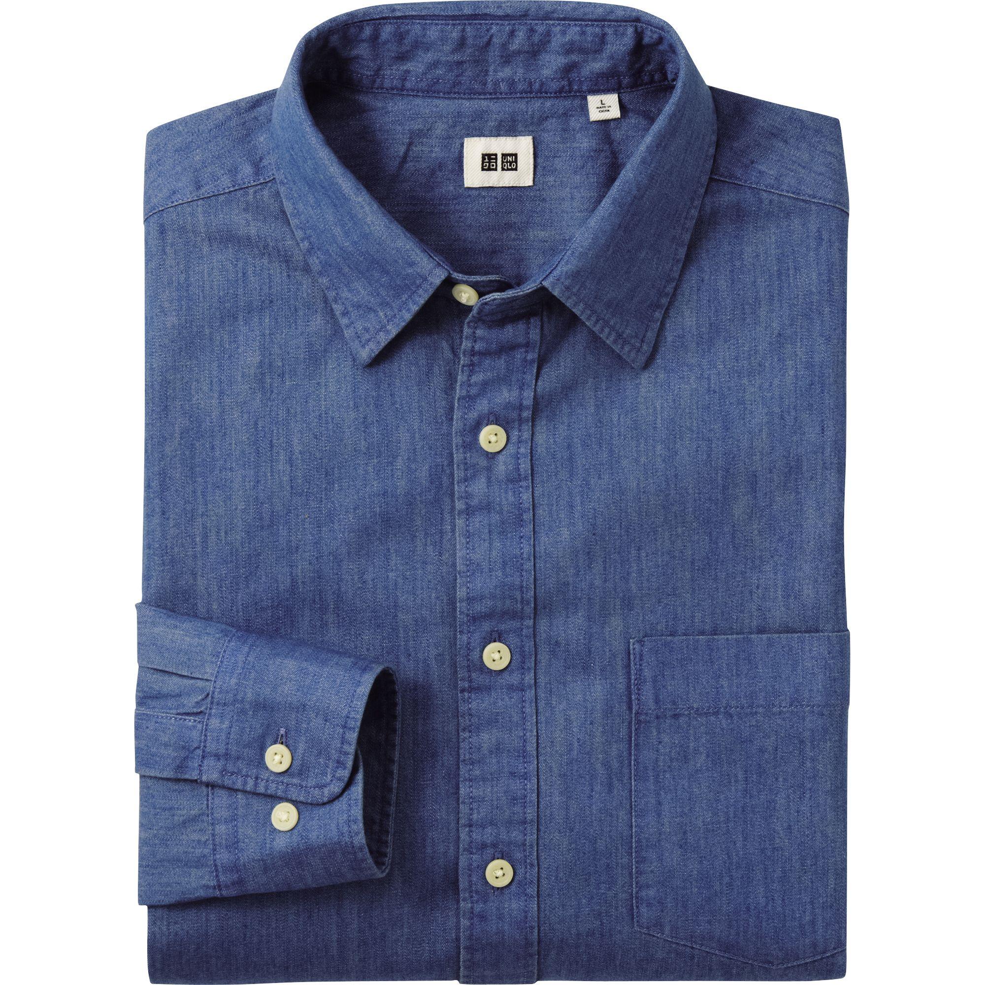 Uniqlo Denim Long Sleeve Shirt In Blue For Men Lyst