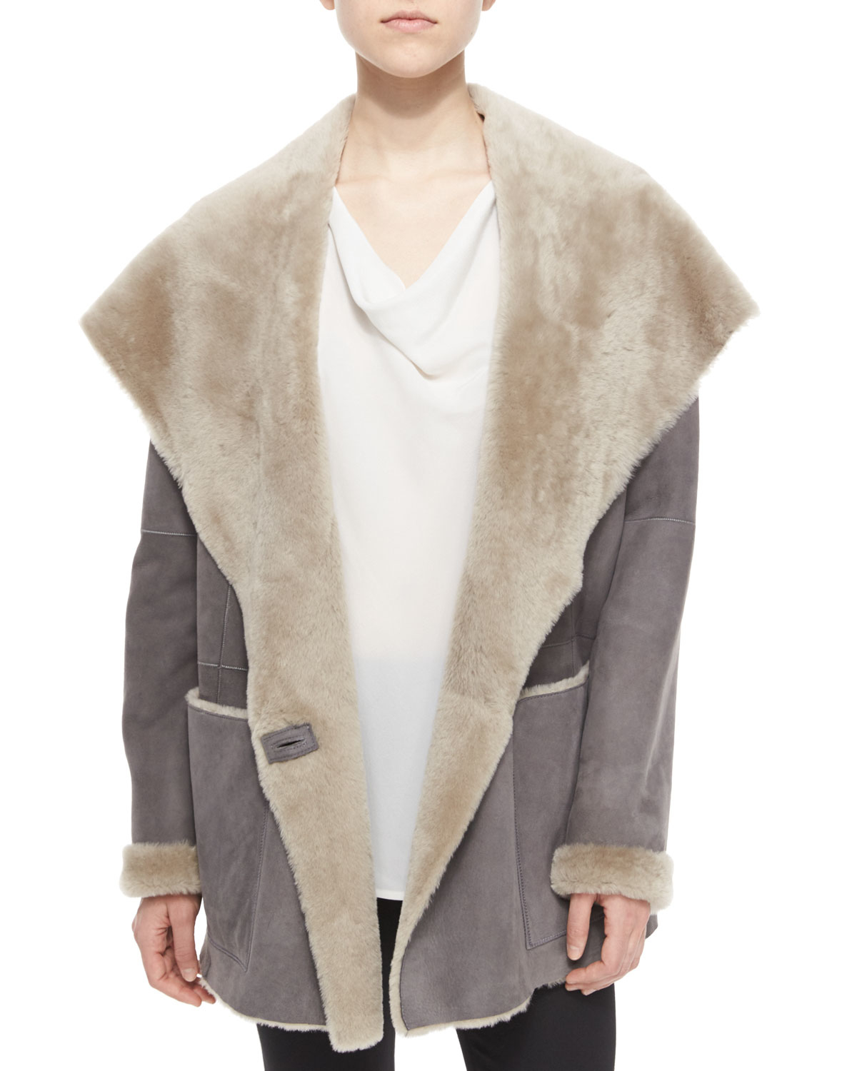 Gray Shearling Coat | Down Coat