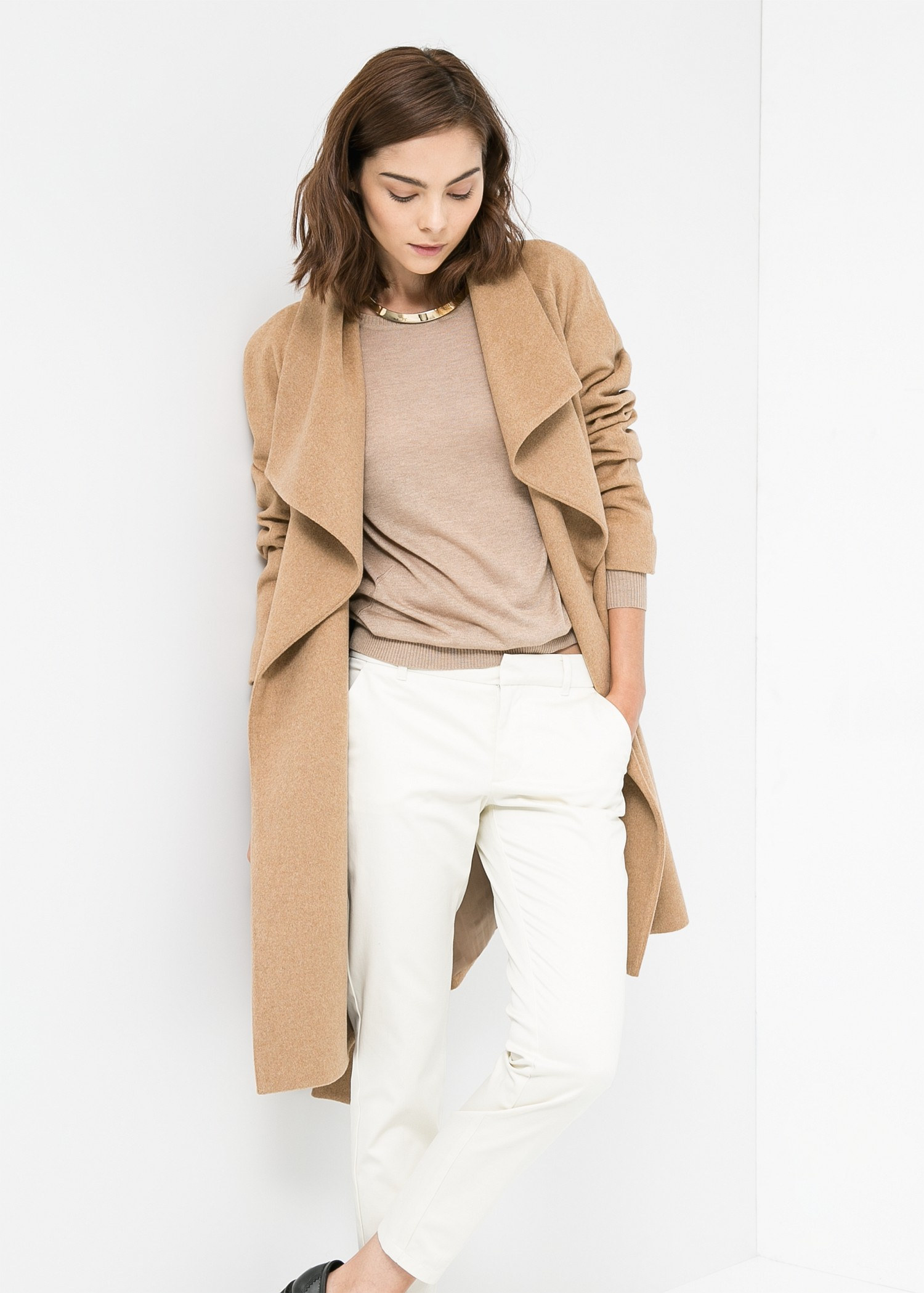 Mango Lapels Wool Blend Coat In Natural Lyst