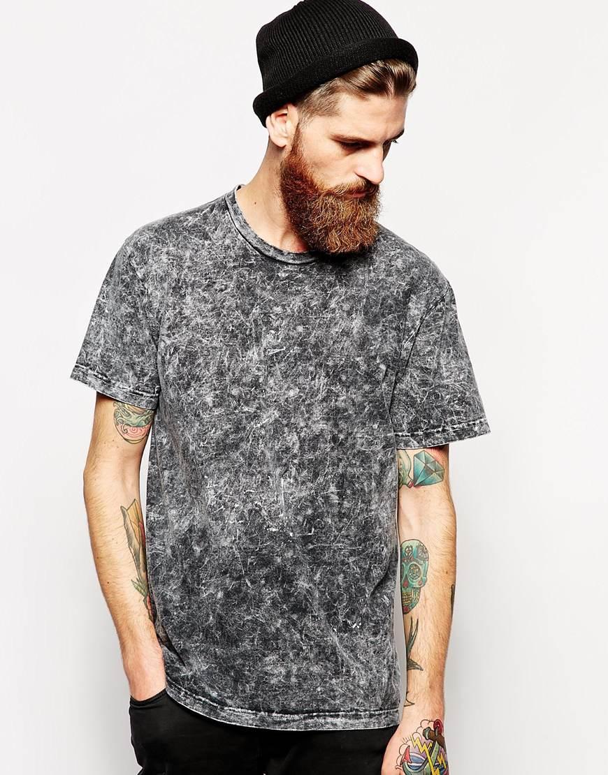 American apparel Acid Wash Short Sleeve T-Shirt in Black for Men ...