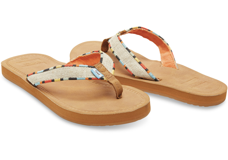 fe72a8fe5c2 Lyst - TOMS Natural Burlap Women s Solana Flip-flops in Natural