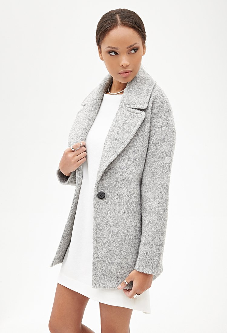 467d3ddb8c15 Forever 21 Wool-blend Boucle Coat in Gray - Lyst