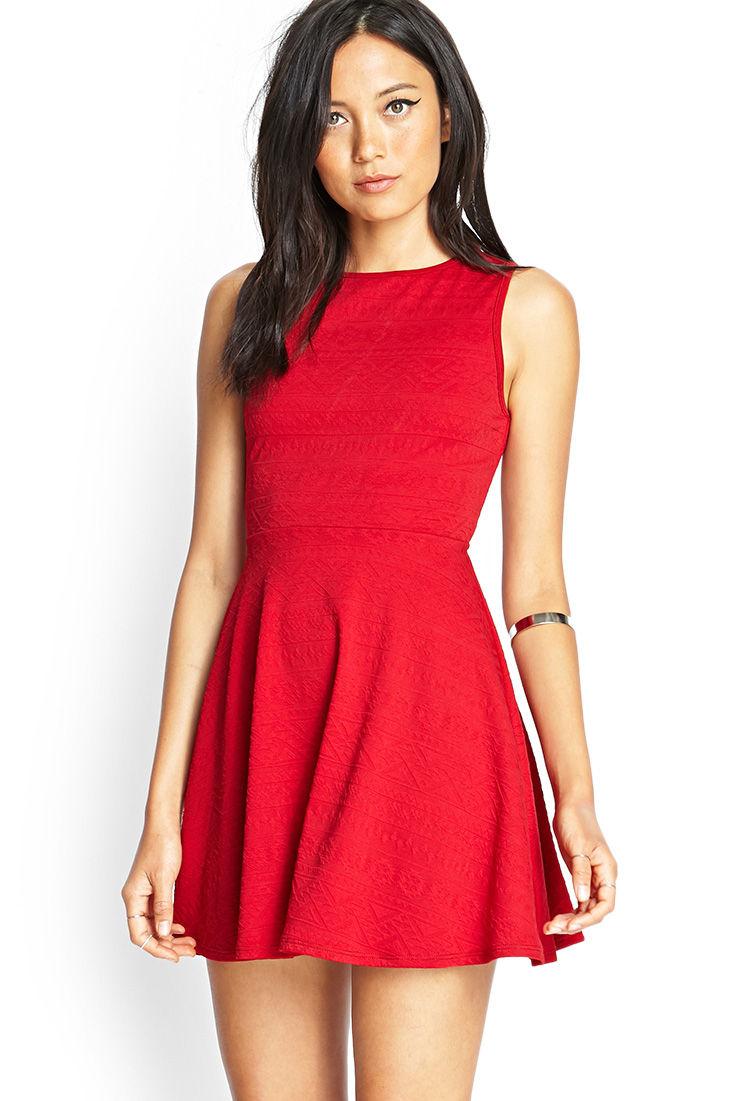 Forever 21 Tribal-Inspired Skater Dress in Red | Lyst