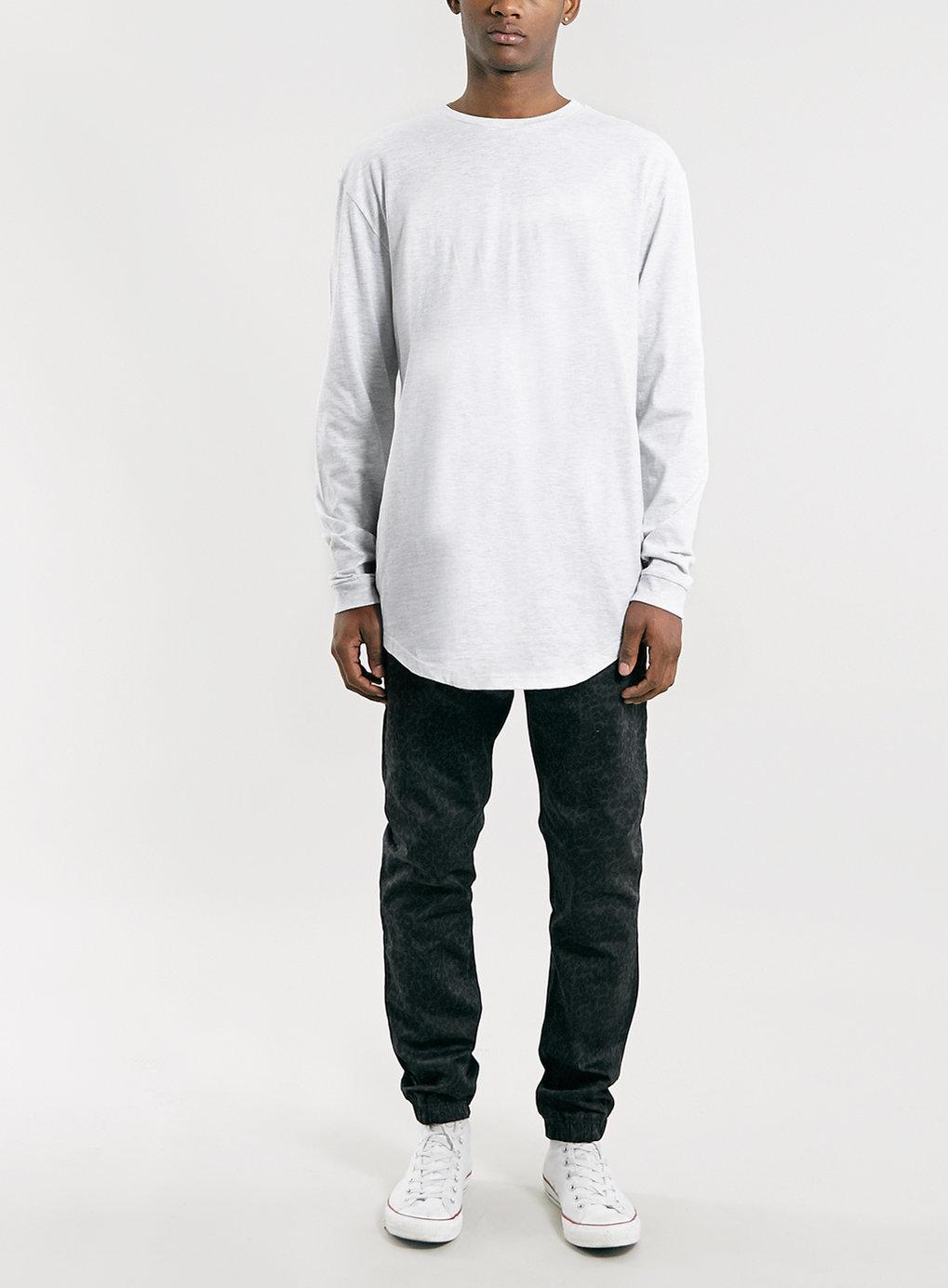 Topman gray frost longer length fit long sleeve t shirt for Long length long sleeve t shirts