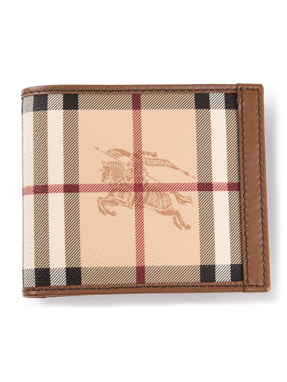 aa85a28fcdad Lyst - Burberry Haymarket Check Bifold Wallet in Brown for Men