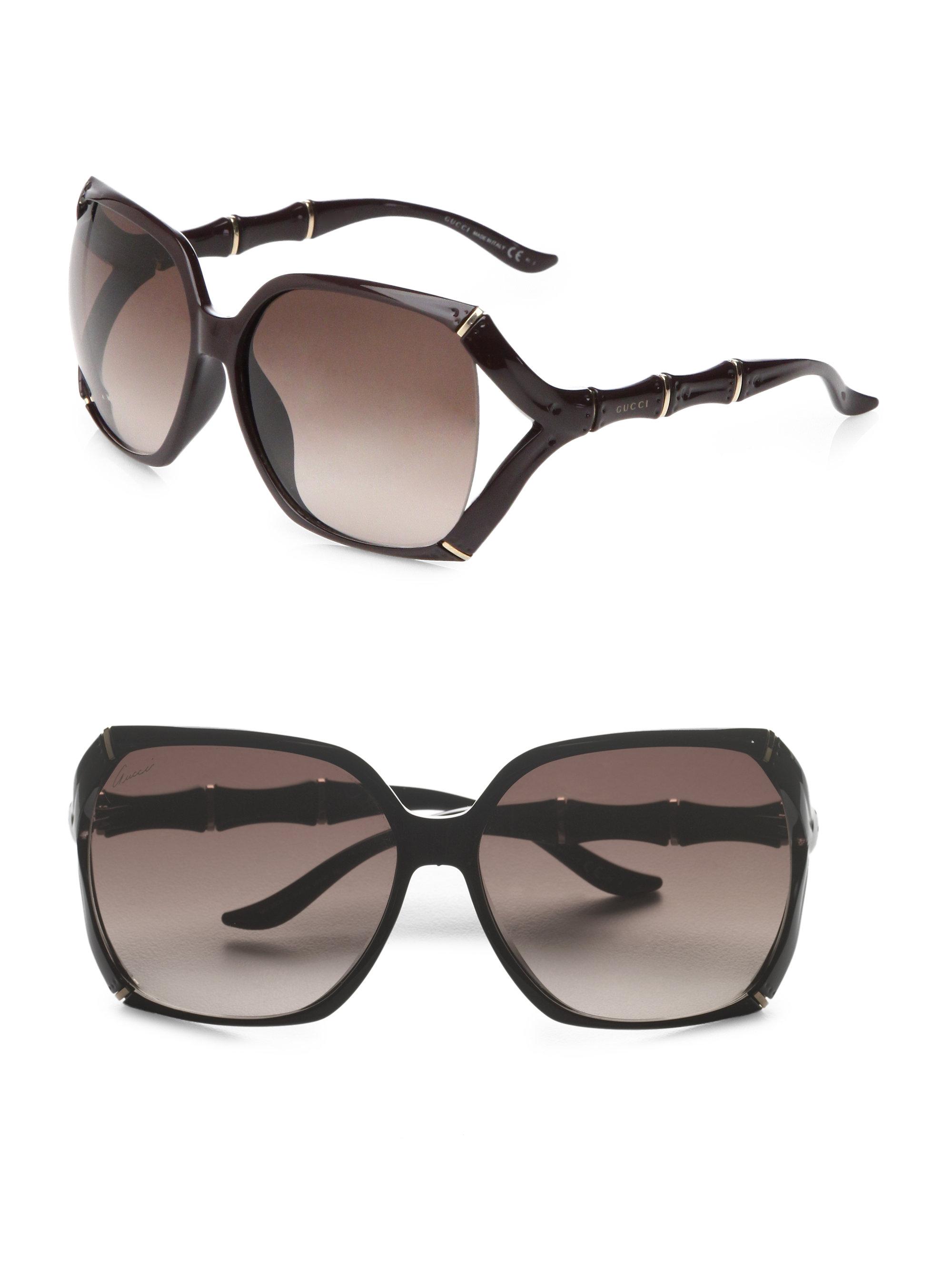 07be21f1b5a Lyst - Gucci Square Bamboo-trim Sunglasses in Black