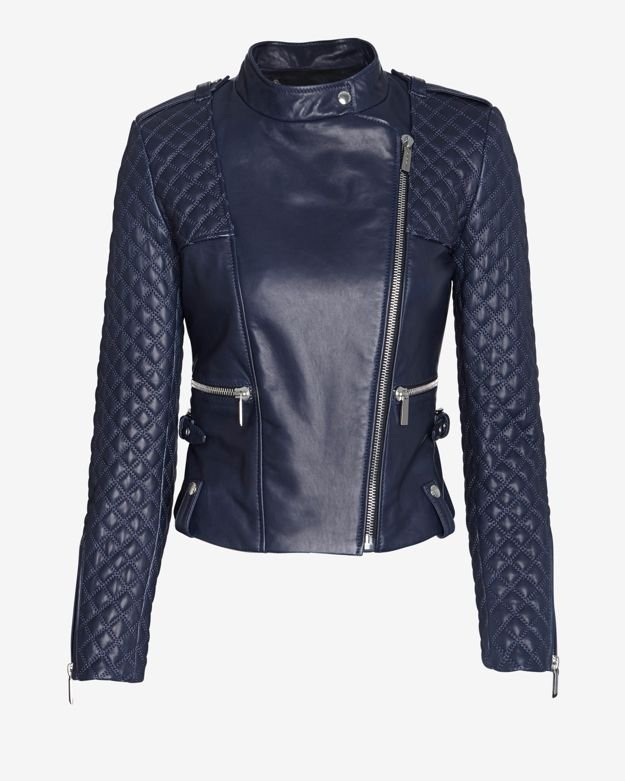 Barbara Bui Exclusive Moto Leather Jacket Navy In Blue Lyst