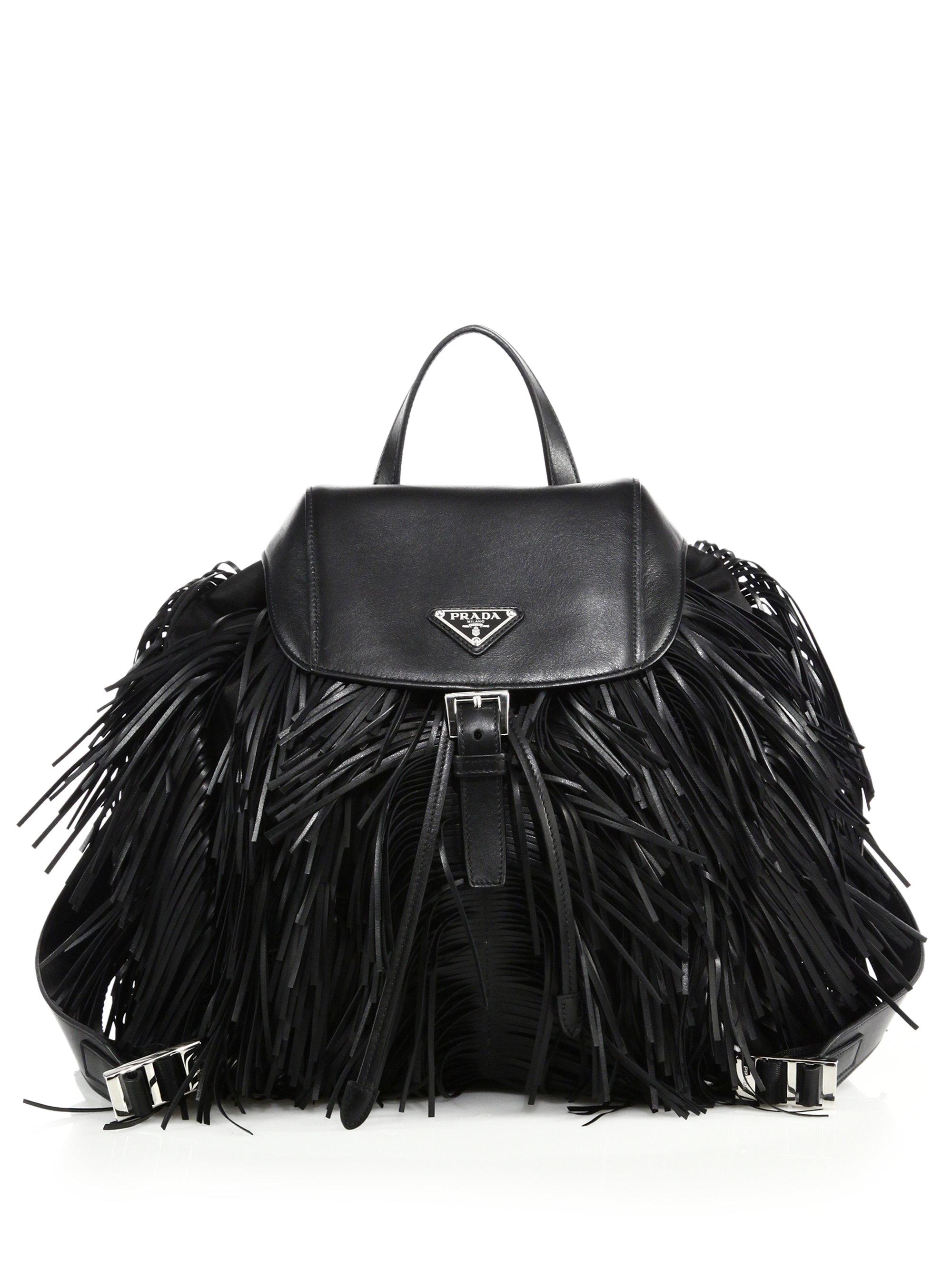 prada nylon tote black - Prada Fringed Nylon \u0026amp; Leather Backpack in Black | Lyst