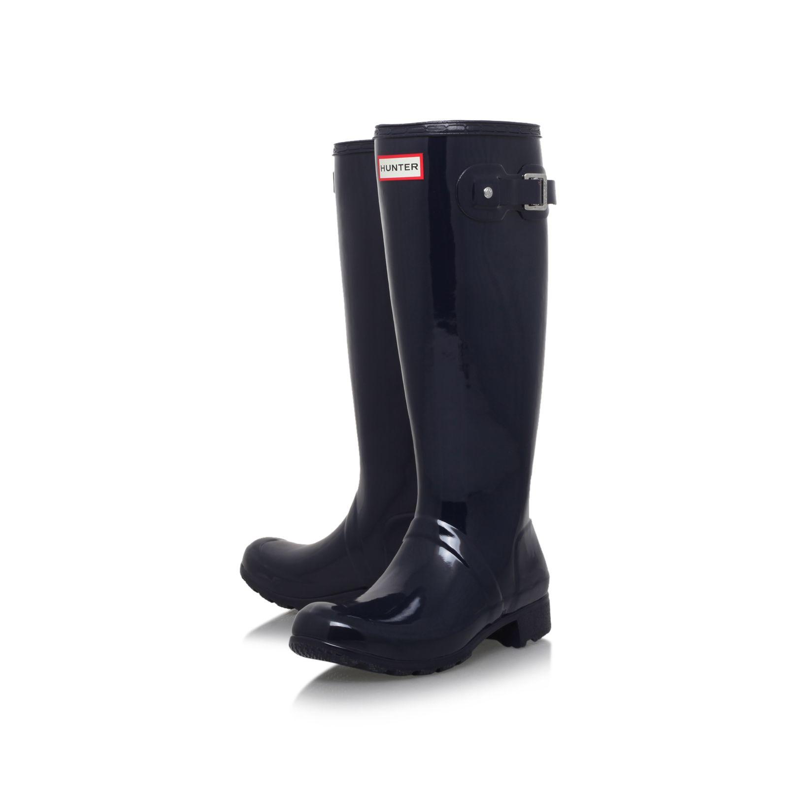 Hunter Original Tour Gloss Flat Knee High Rain Boots in Blue | Lyst