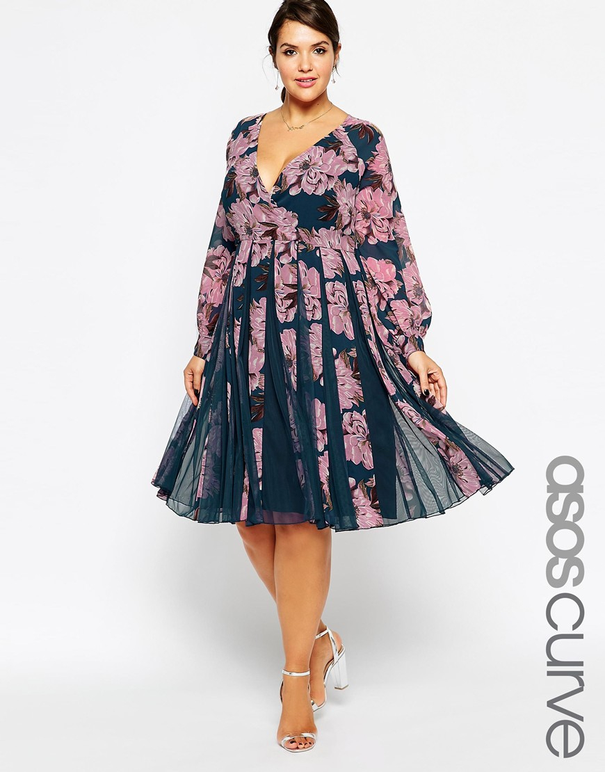 Asos Curve Fit & Flare Dress With Insert In Pretty Floral Print   Lyst