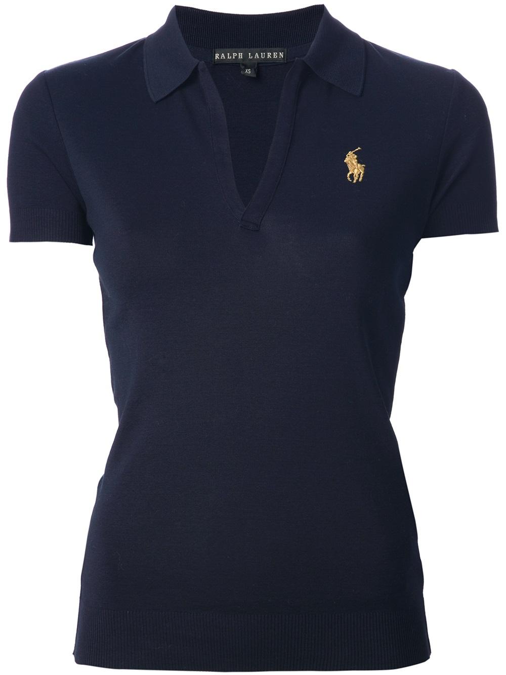 Ralph lauren black label open placket polo shirt in blue for Ralph lauren black label polo shirt