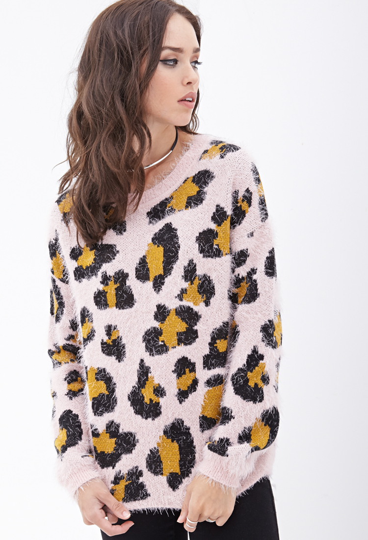Forever 21 Fuzzy Leopard Pattern Sweater in Pink | Lyst