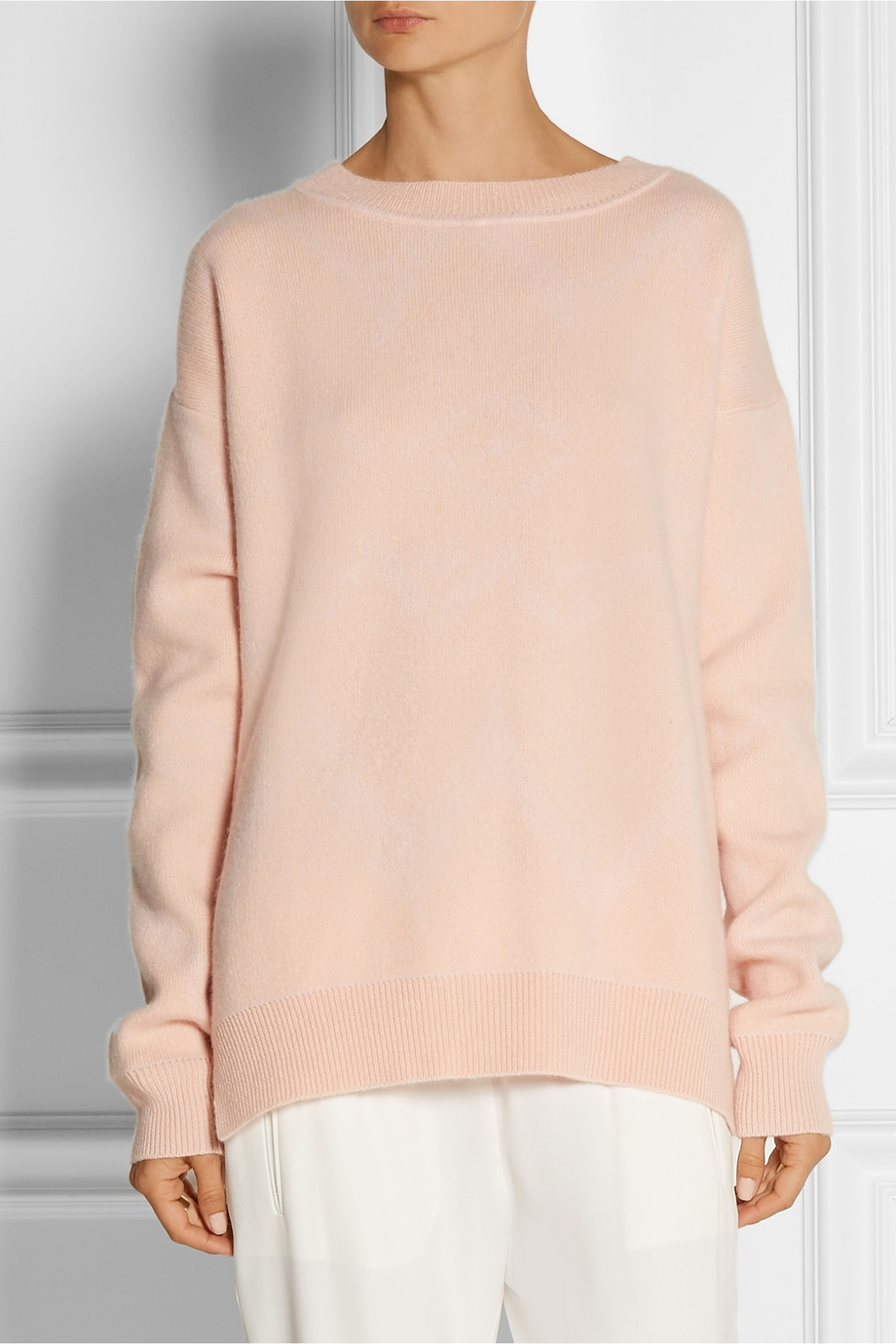 Baja east Oversized Printed Cashmere Sweater in Pink | Lyst
