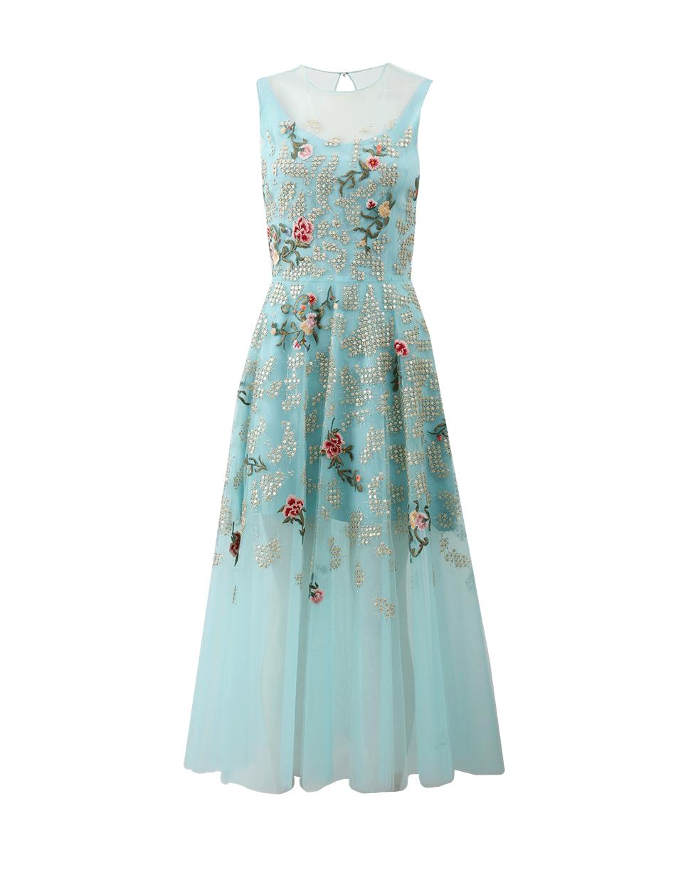 oscar de la renta embroidered tea length dress in blue. Black Bedroom Furniture Sets. Home Design Ideas
