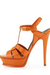 Saint Laurent Tribute Highheel Patent Sandal Orange - Lyst