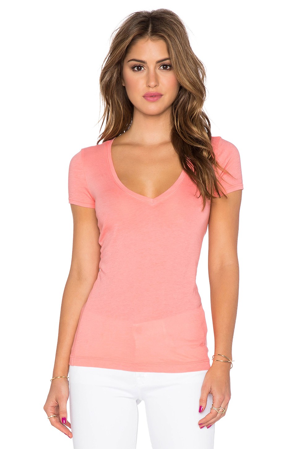 Lyst Three Dots Short Sleeve V Neck Tee In Pink