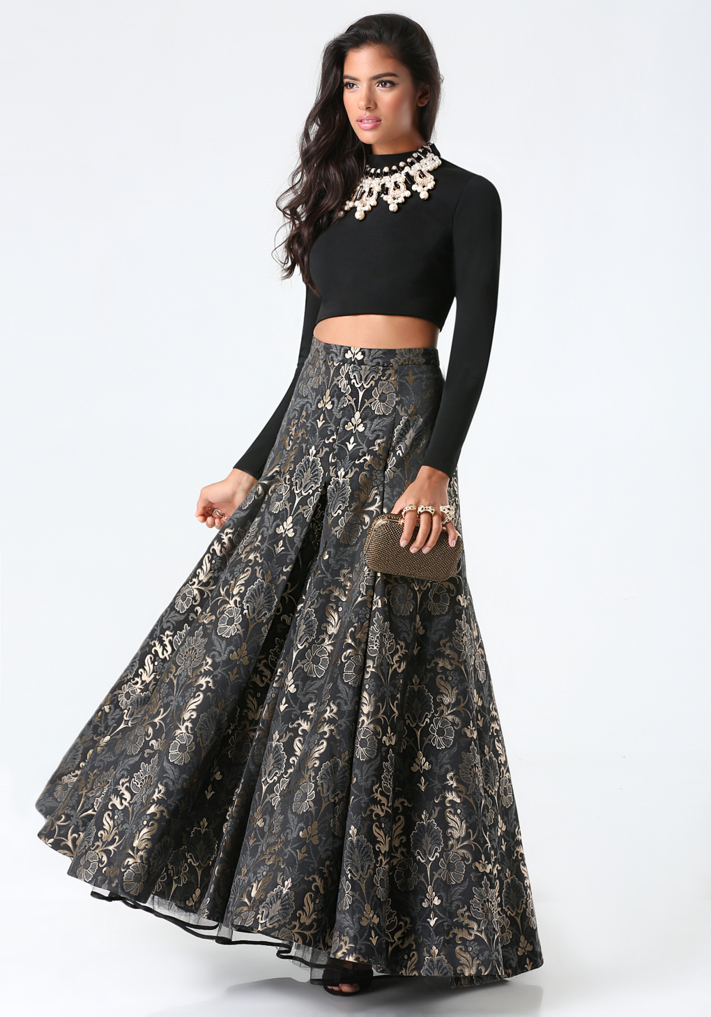 Lyst - Bebe Jacquard 2-piece Gown in Black