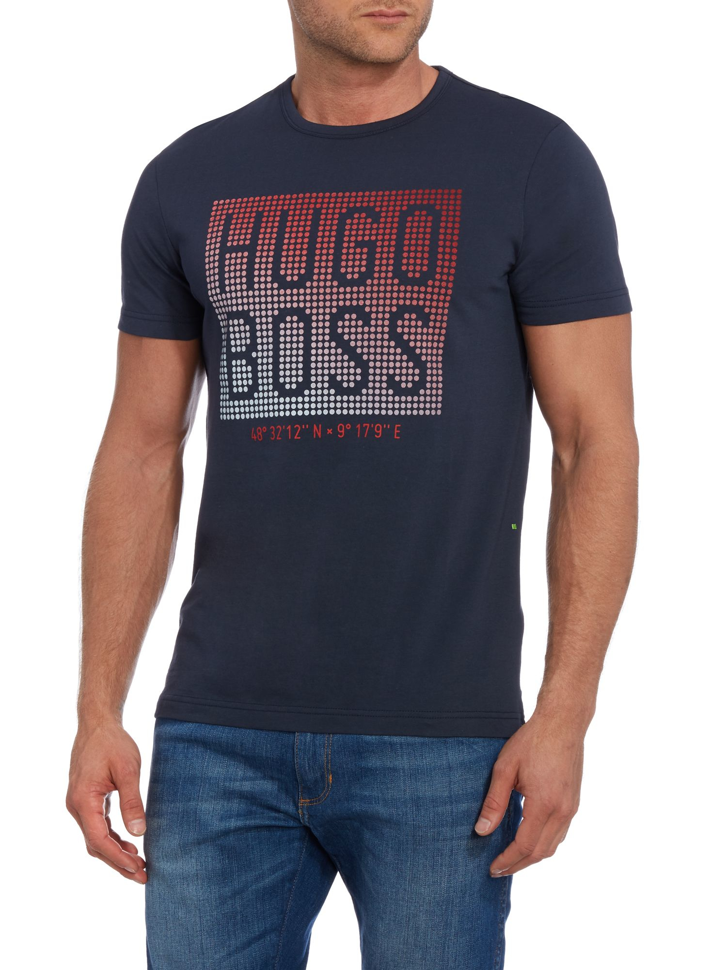 Lyst boss teeos boxes logo graphic t shirt in blue for men for Hugo boss men s dress shirts