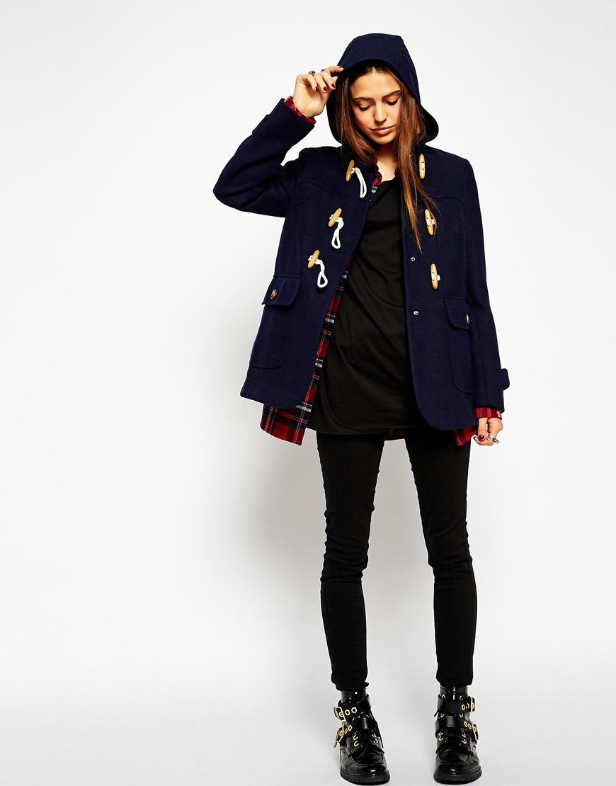 Asos Ultimate Hooded Duffle Coat in Red | Lyst