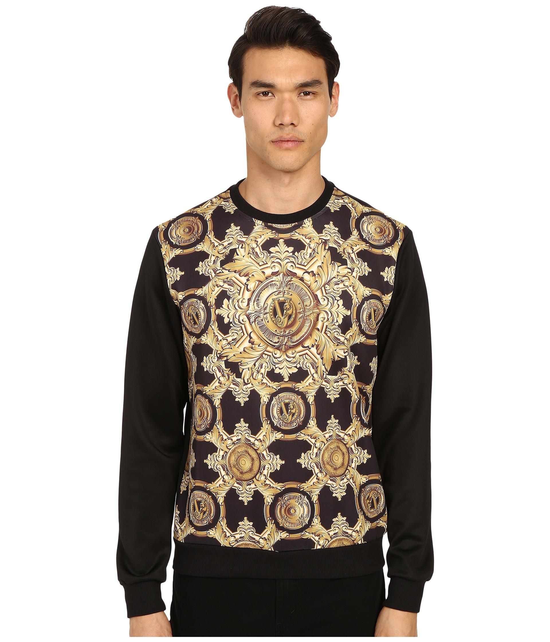 7ed37fa790 Versace Jeans Black And Gold Embroidered Logo Sweatshirt | Saddha