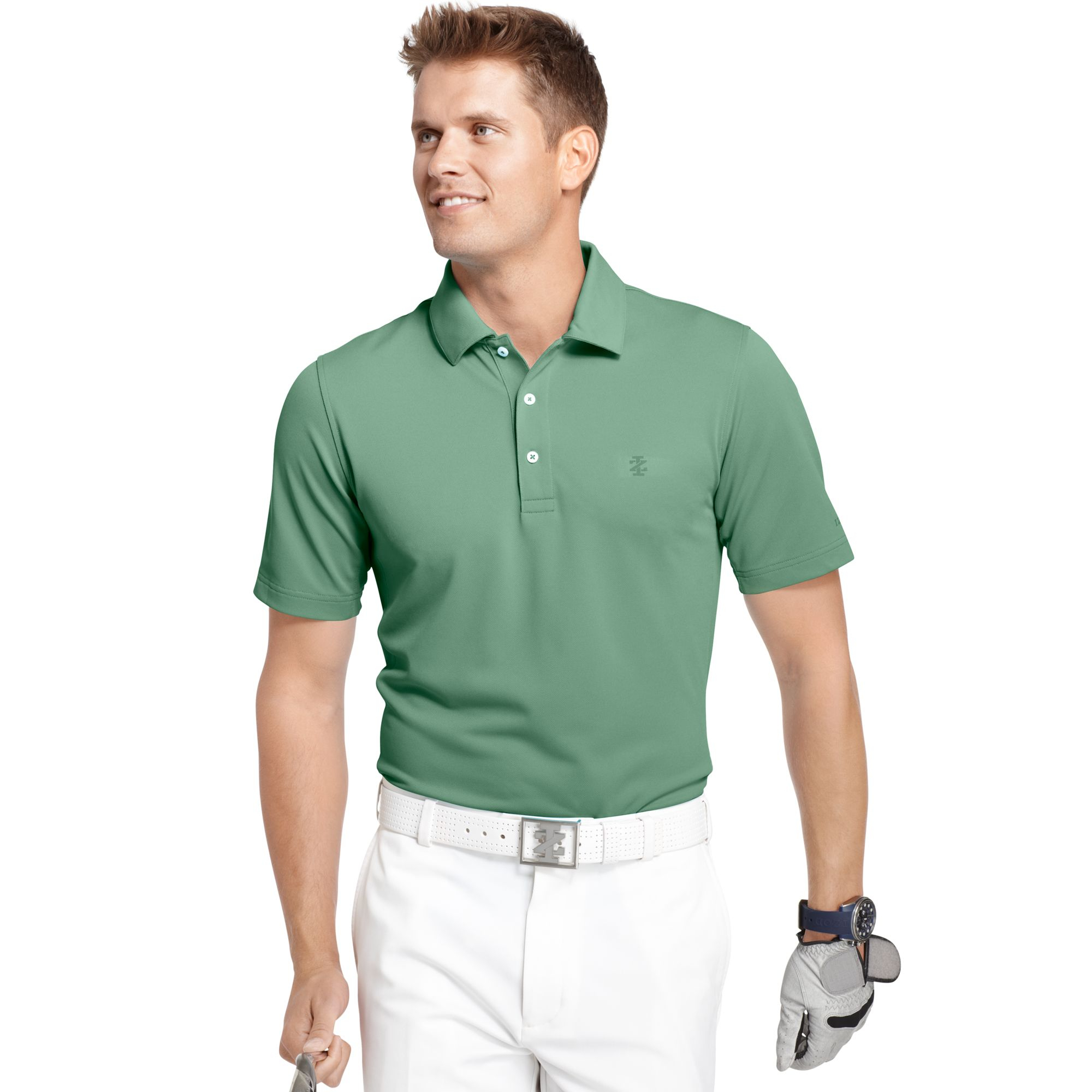 Izod big and tall solid pique performance golf polo in for Large tall golf shirts