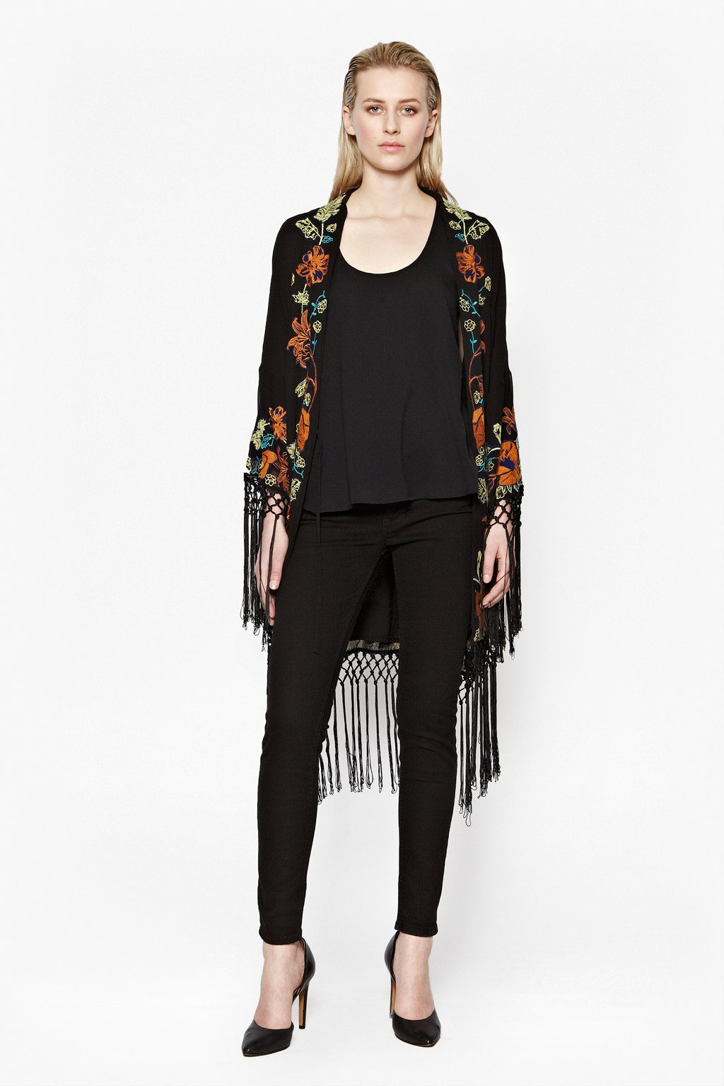 French Connection Seychelles Drape Kimono Jacket In Black