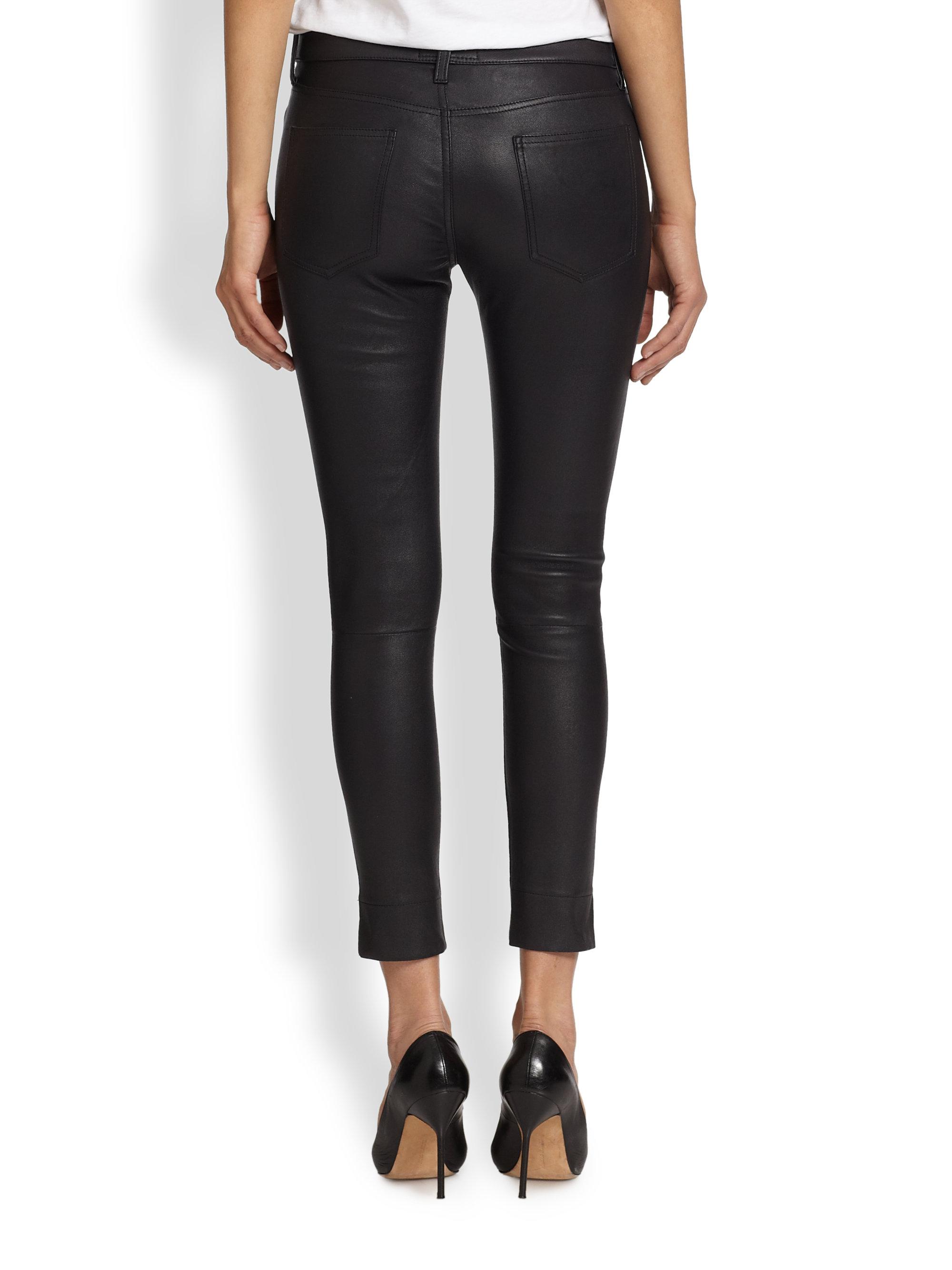 Current elliott leather skinny jeans