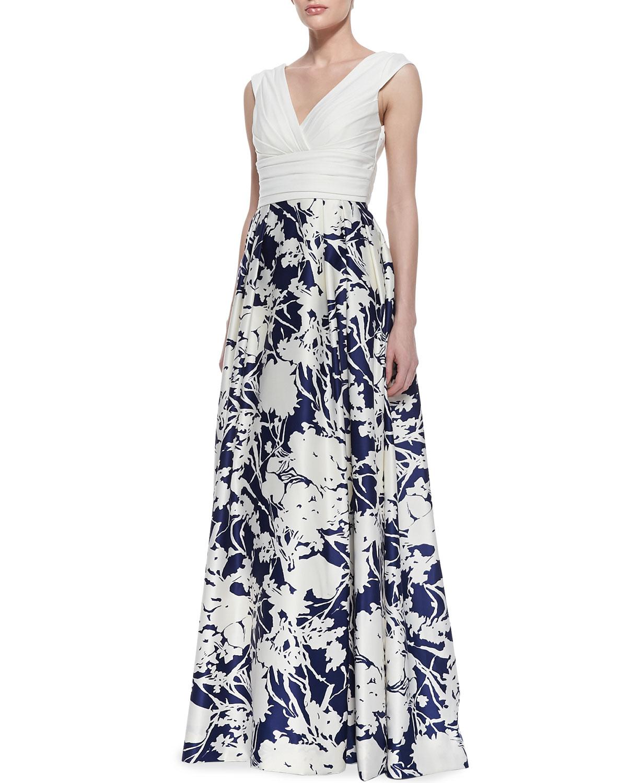 Lyst - Aidan Mattox Sleeveless Floral Skirt Ball Gown in Black