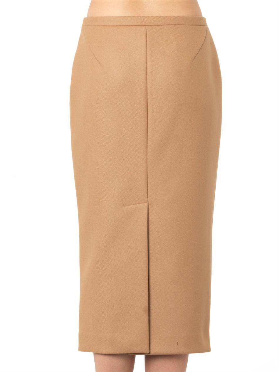 Rochas Midi-Length Pencil Skirt in Brown | Lyst