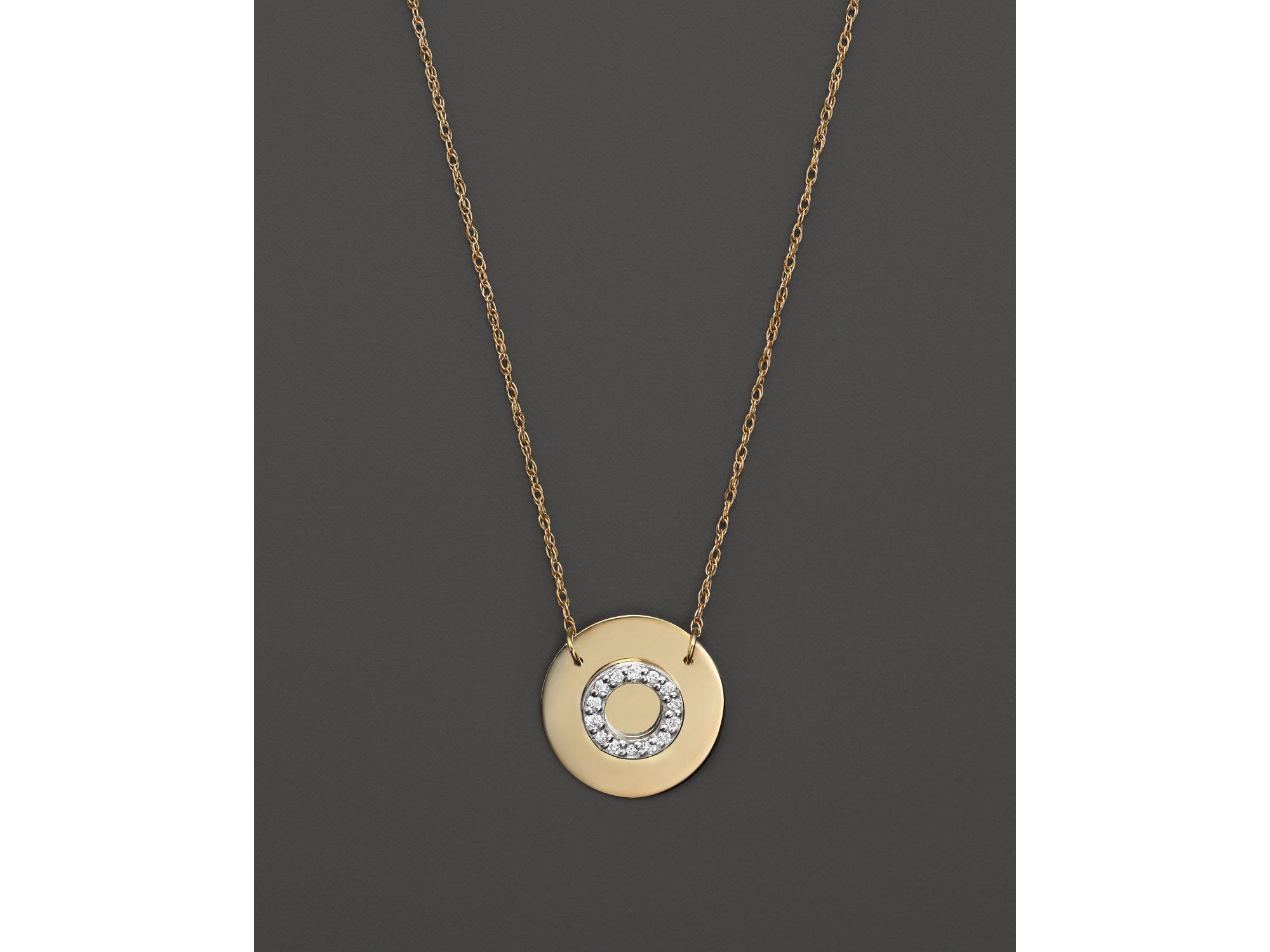Jane Basch 14k Yellow Gold Circle Disc Pendant Necklace