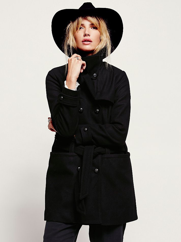 Free People Military Belted Wool Co In Black Lyst