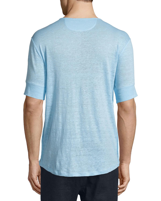 Lyst Vince Short Sleeve Linen Henley T Shirt In Blue For Men