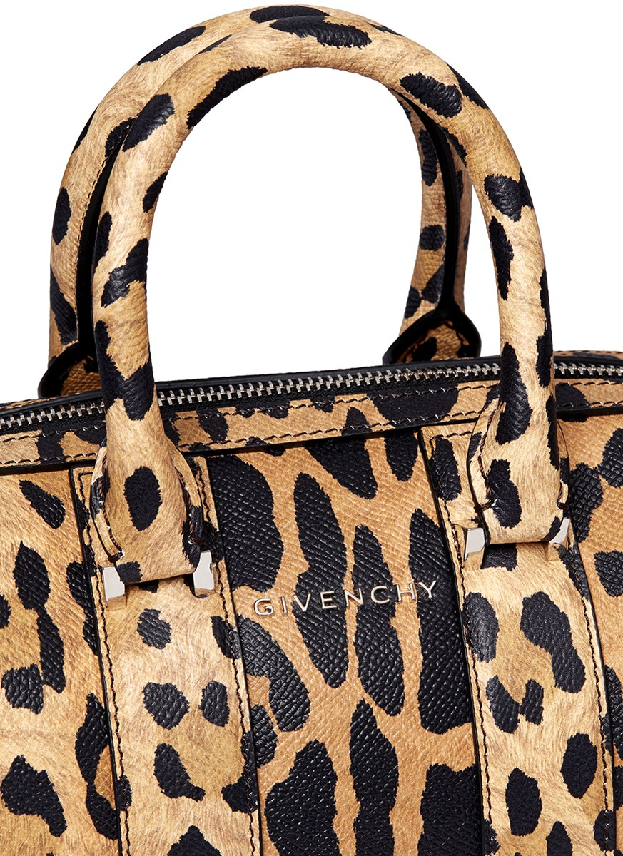 c20faadbe7 Givenchy  lucrezia  Micro Leopard Print Leather Bag in Brown - Lyst