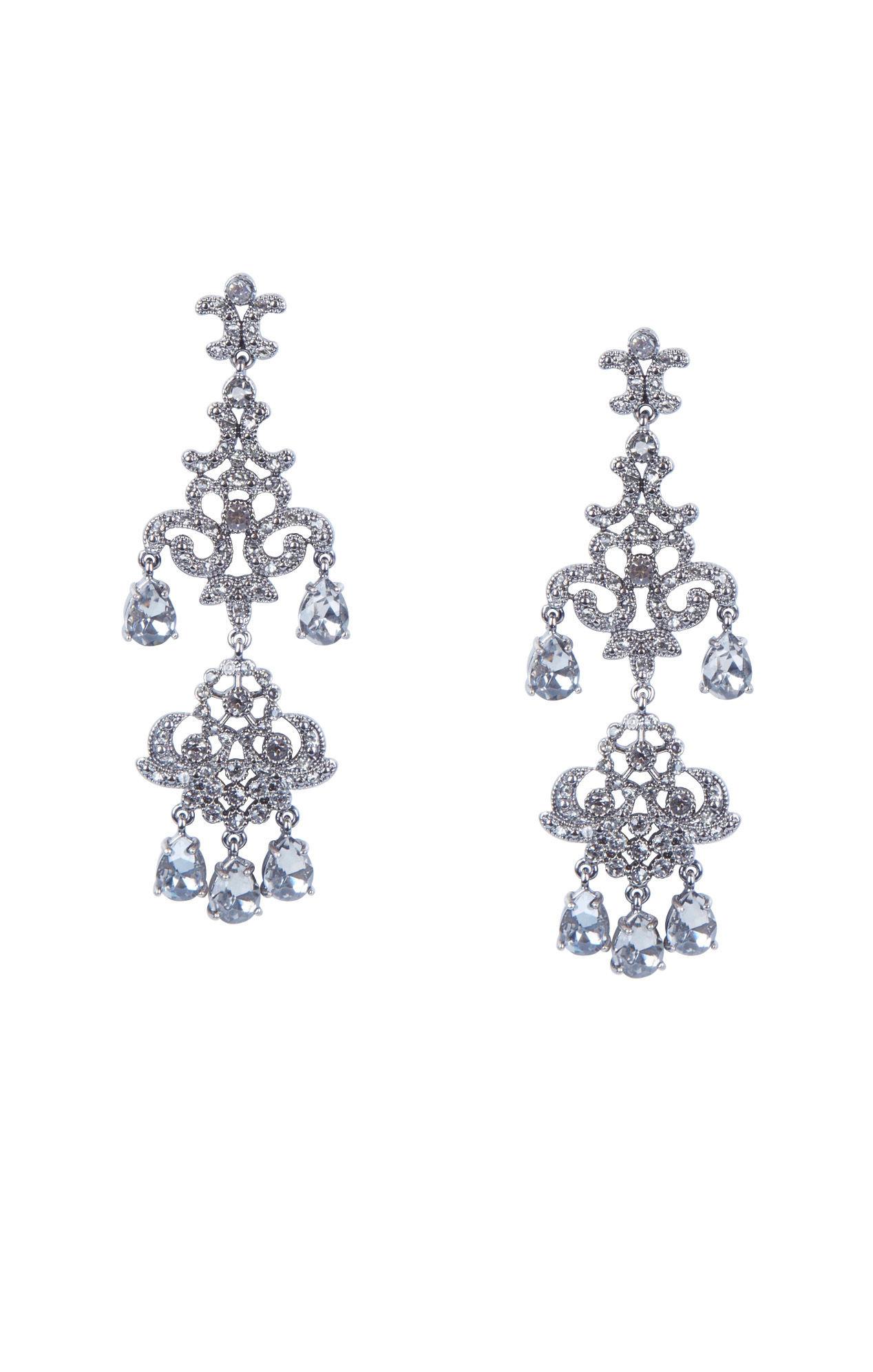 Bcbgmaxazria Teardrop Stone Chandelier Earrings in Metallic – Black Diamond Chandelier Earrings