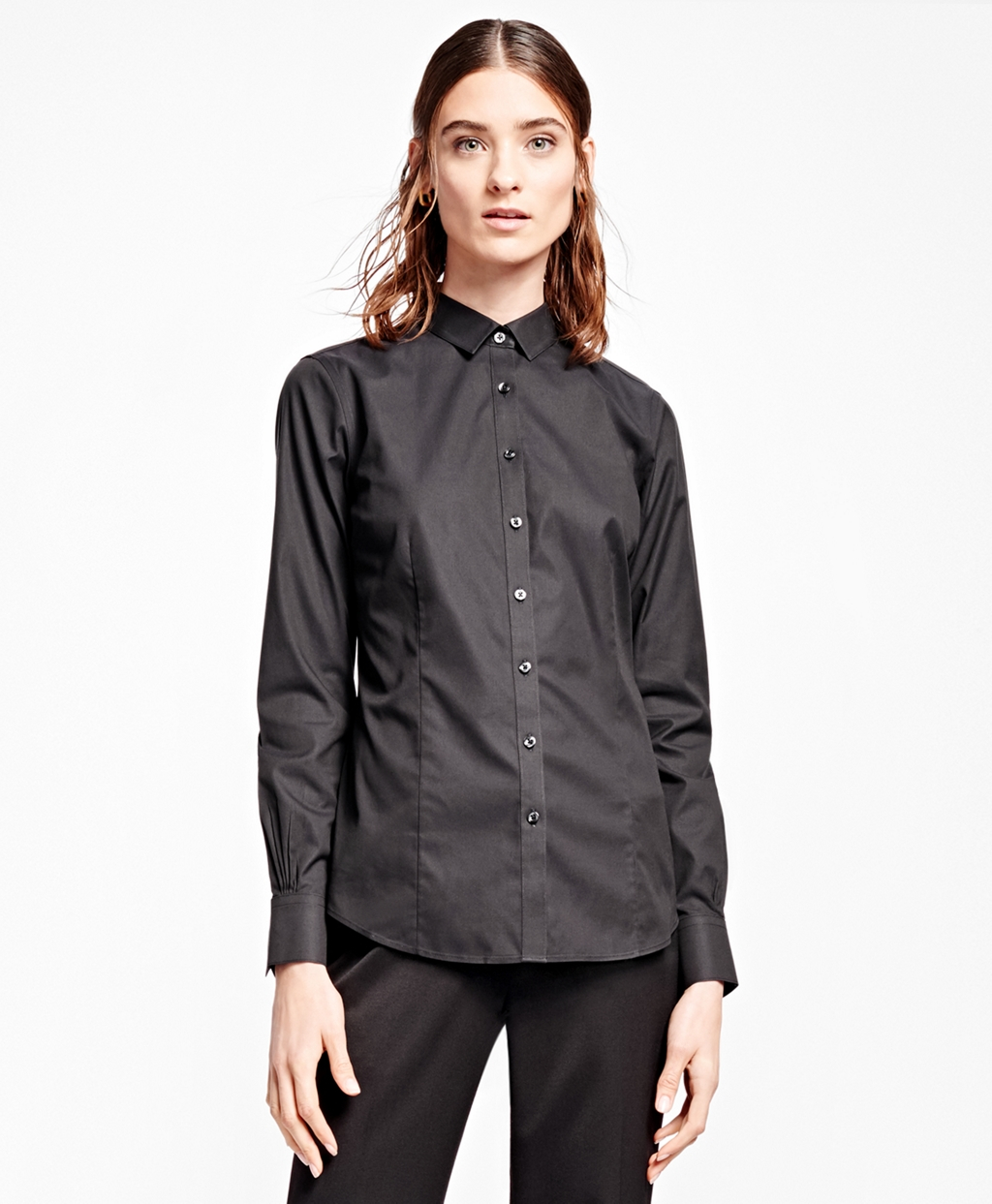Brooks Brothers Non Iron Tailored Fit Dress Shirt In Black