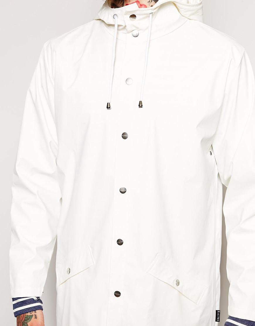 Rains Long Jacket in White for Men | Lyst