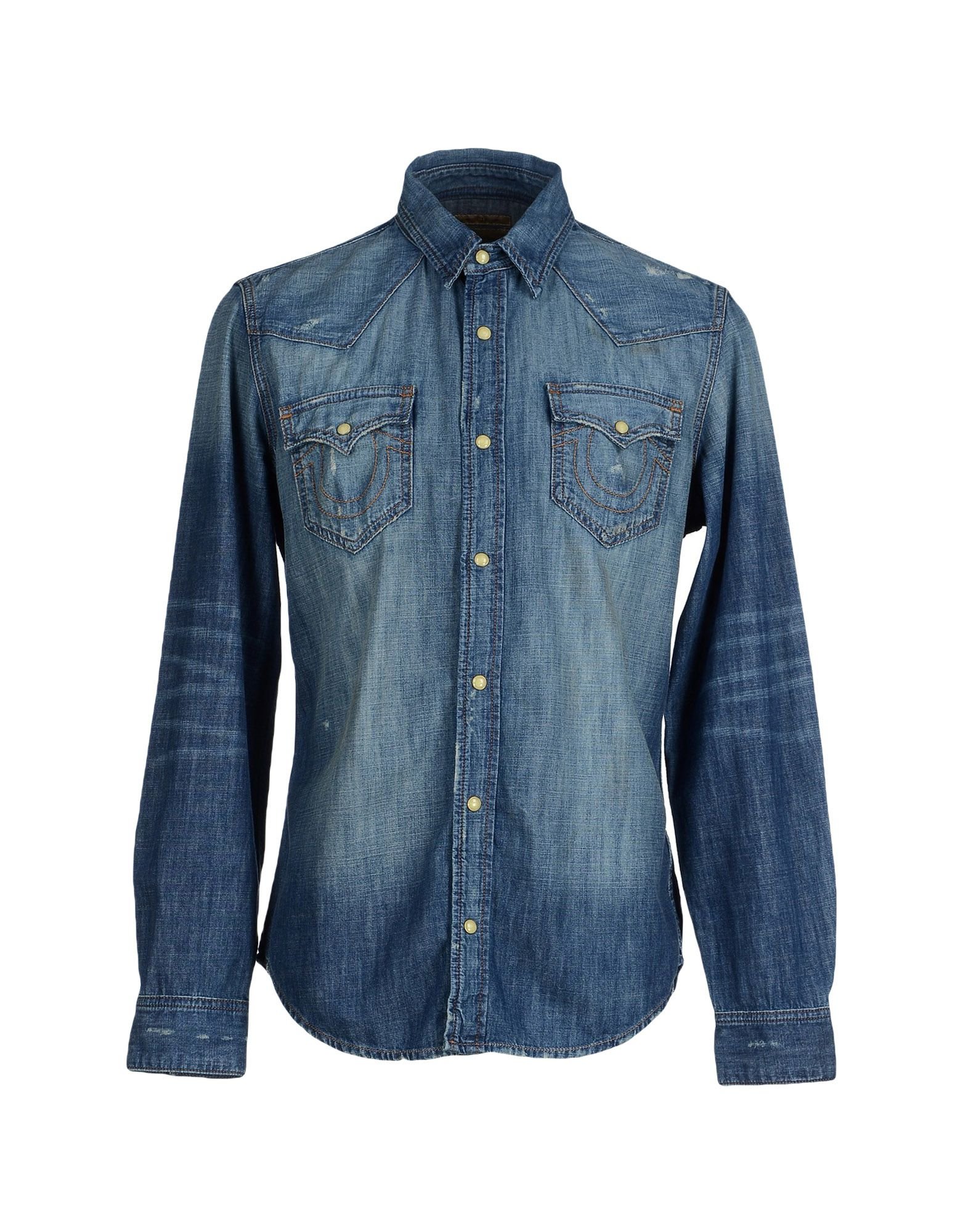 true religion denim shirt in blue for men lyst