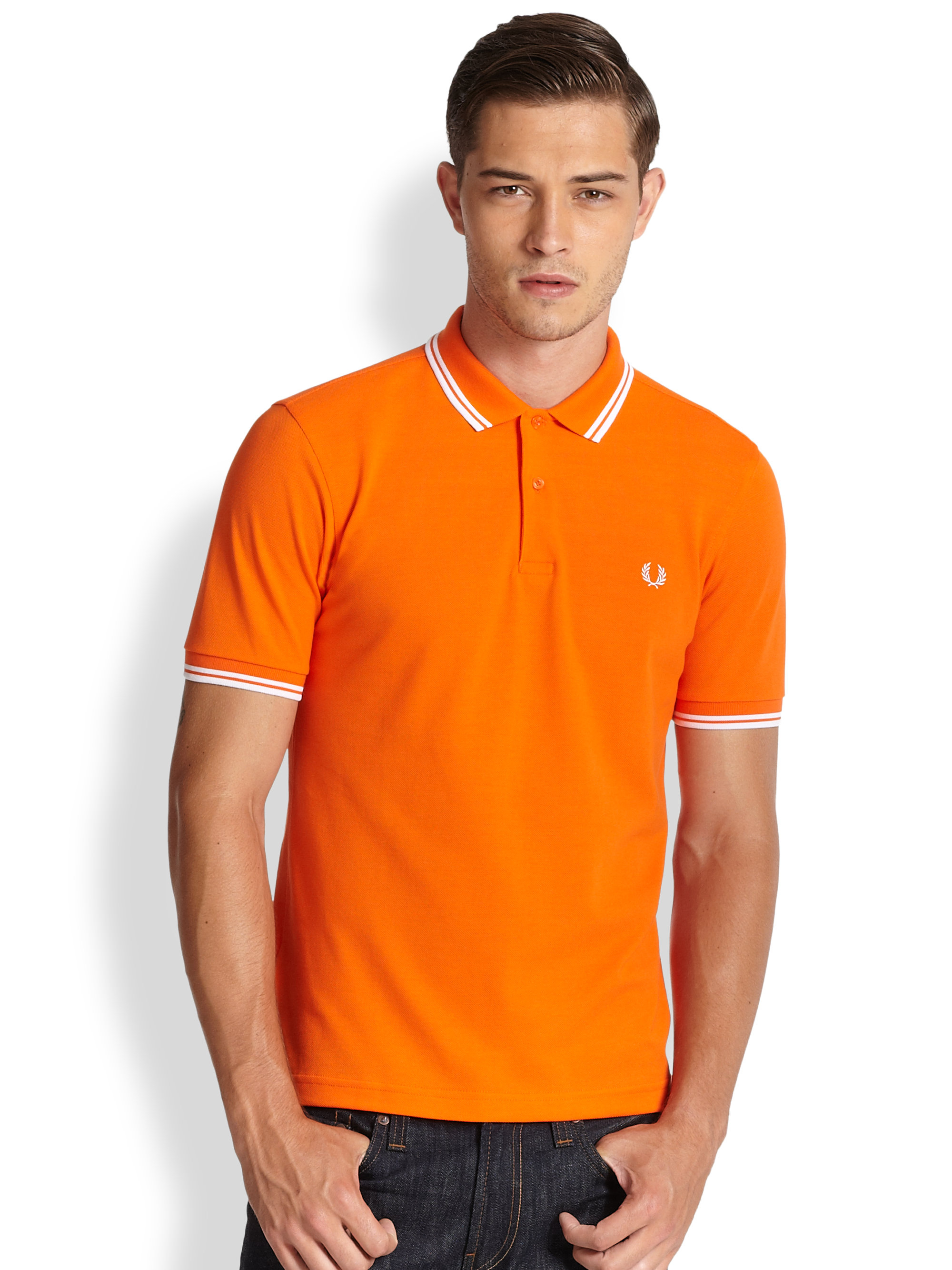 fred perry twin tipped polo in orange for men lyst. Black Bedroom Furniture Sets. Home Design Ideas