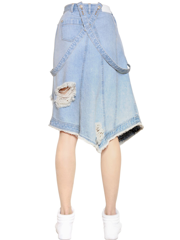 steve j yoni p destroyed denim skirt with suspenders in