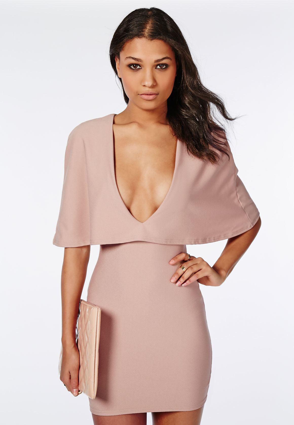 Bodycon dress with cape