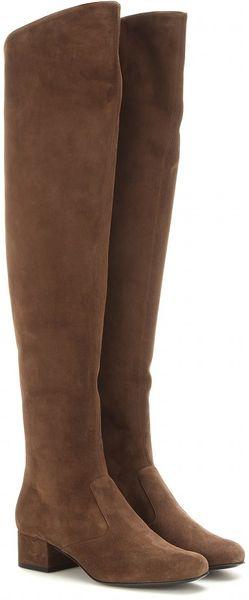 Saint Laurent Babies Suede Over The Knee Boots In Brown Lyst