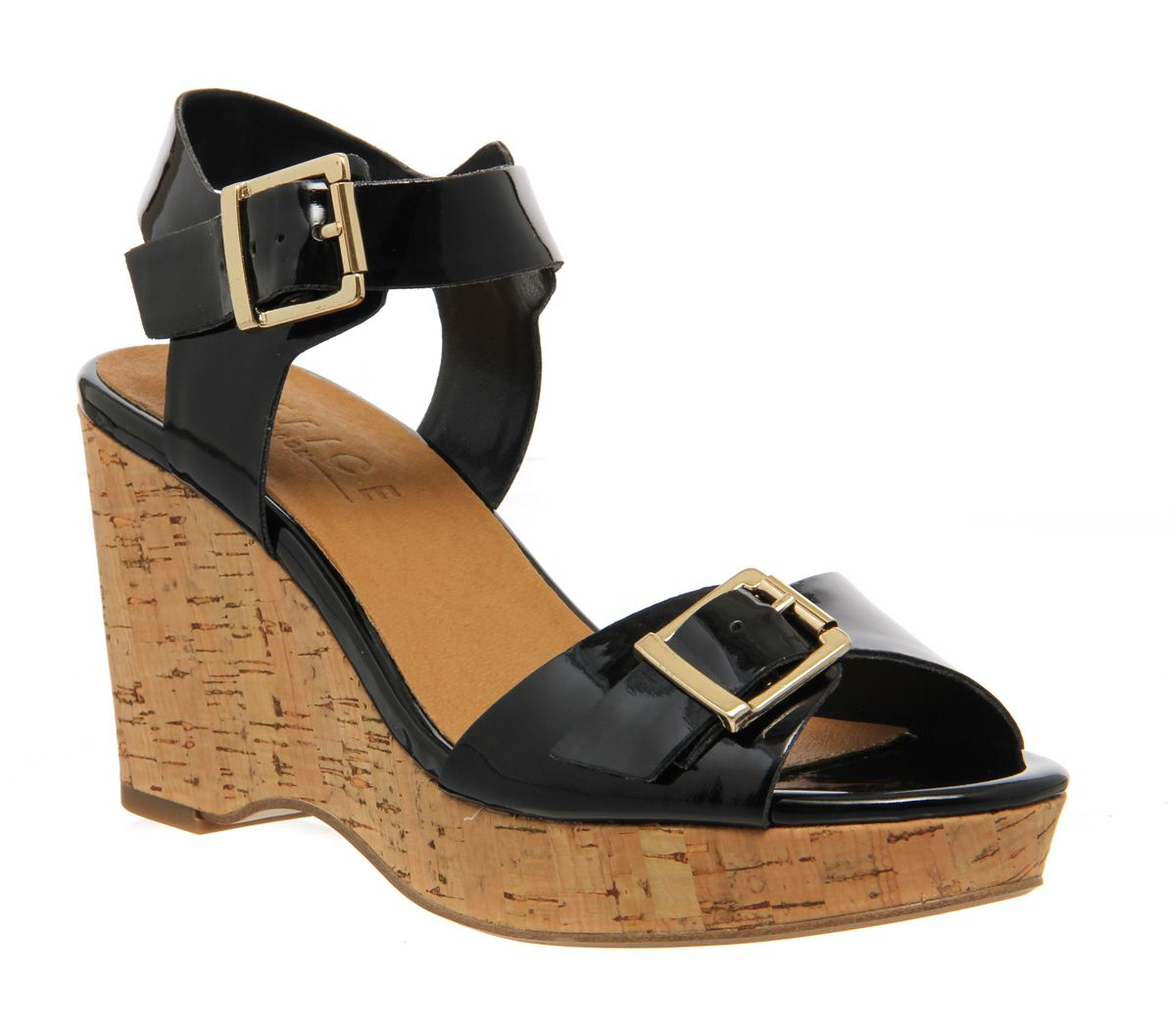 office winchester cork wedge in black lyst