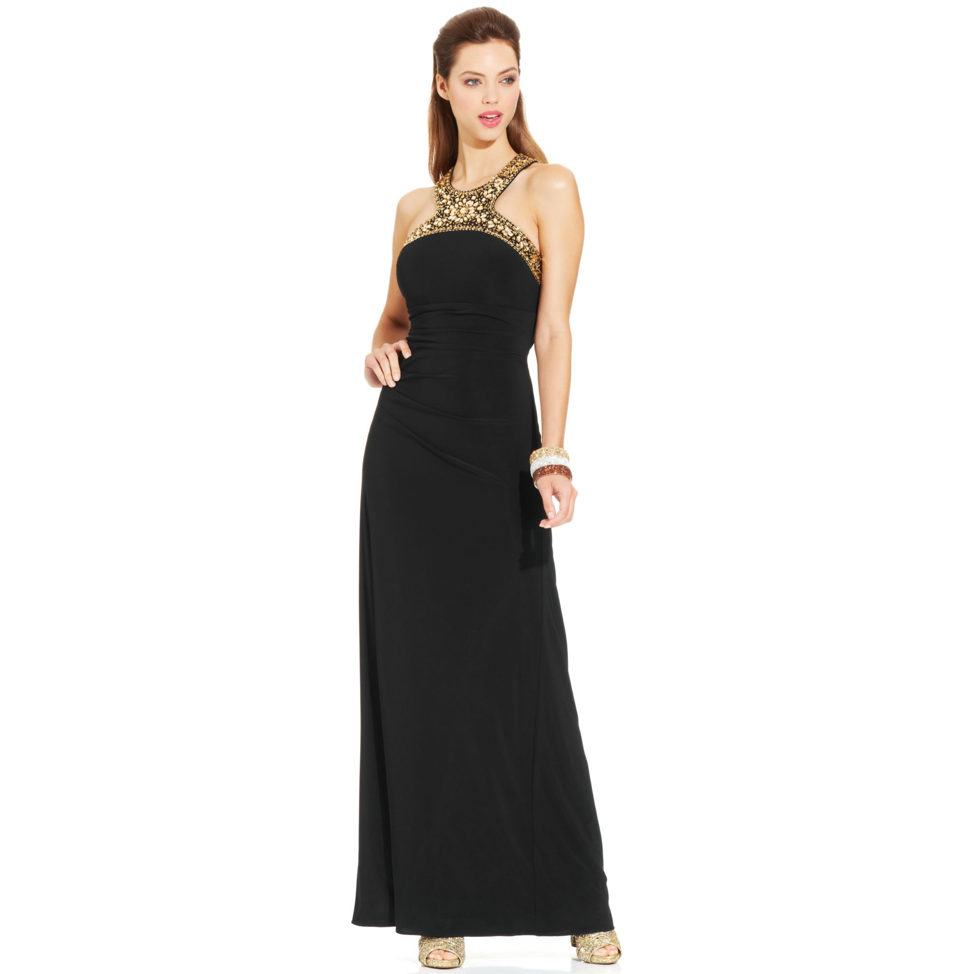 Lyst - Xscape Jeweltrim Ruched Halter Gown in Black
