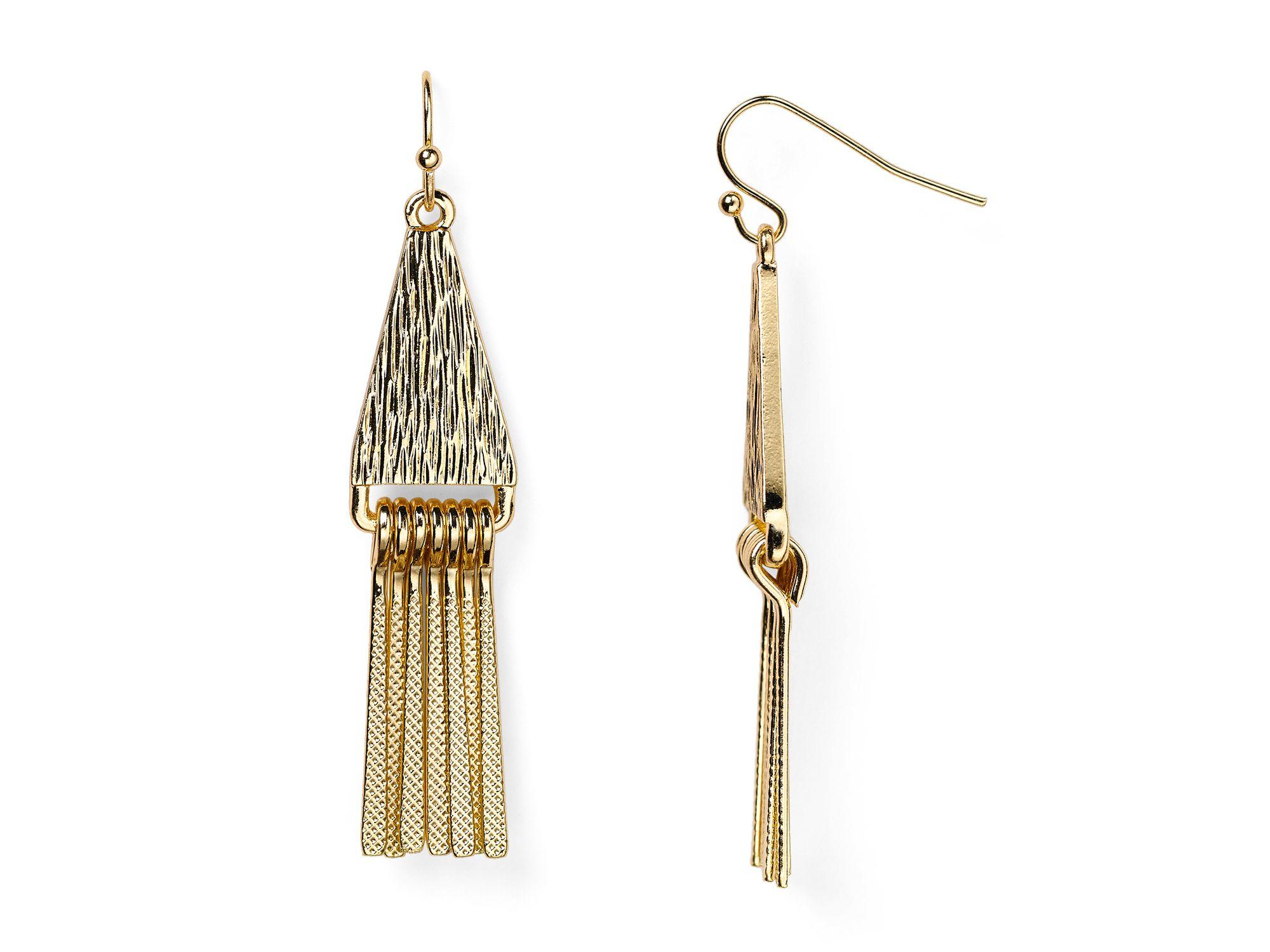 Aqua ruth triangle fringe earrings in metallic lyst for Garcia s jewelry bench