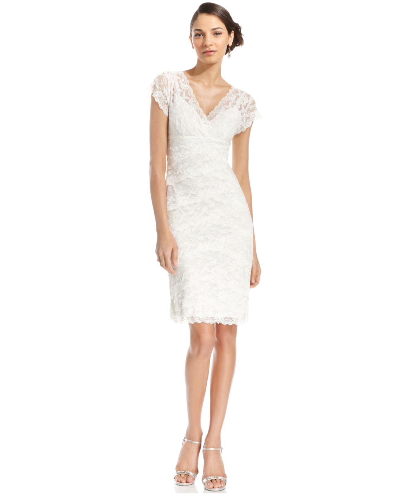 Marina Cap-sleeve Lace Tiered Dress in White | Lyst