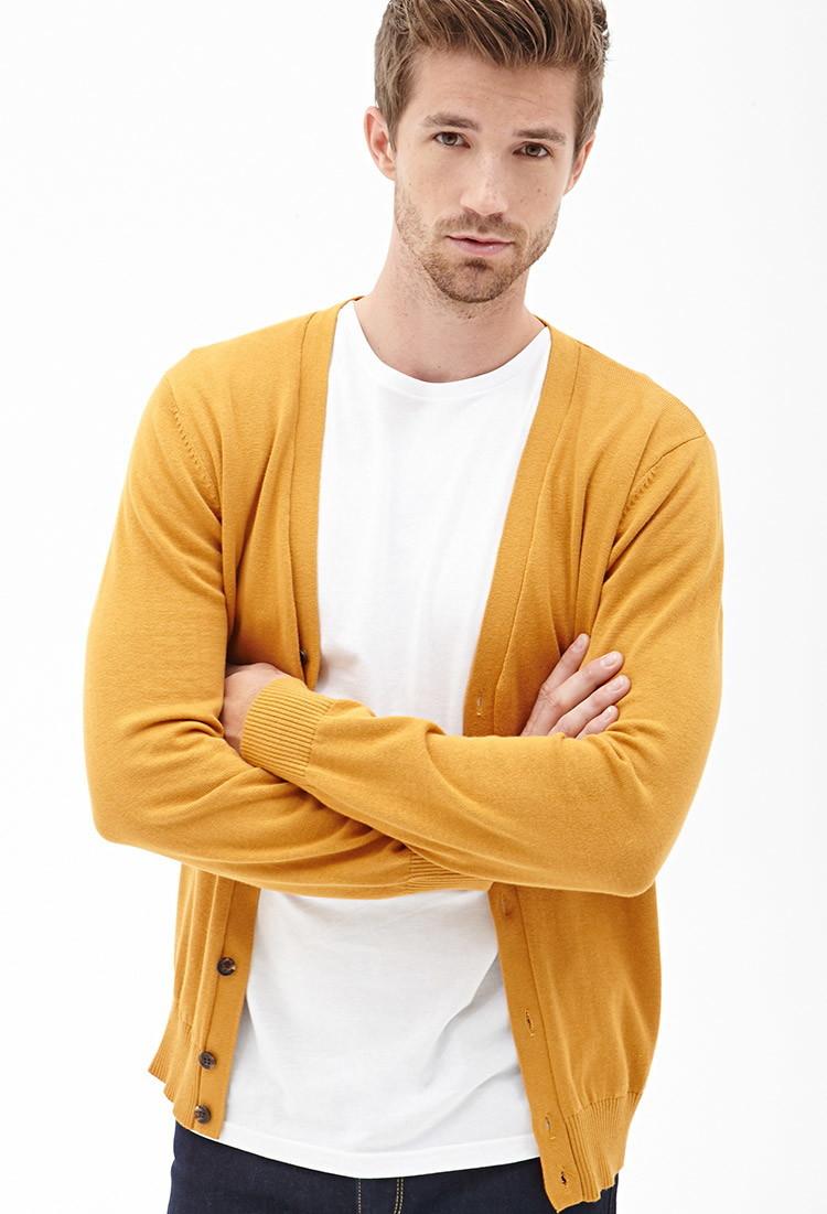 Forever 21 Buttoned V-neck Cardigan in Orange for Men | Lyst