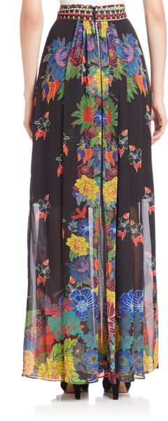 just cavalli mexican couture maxi skirt in multicolor