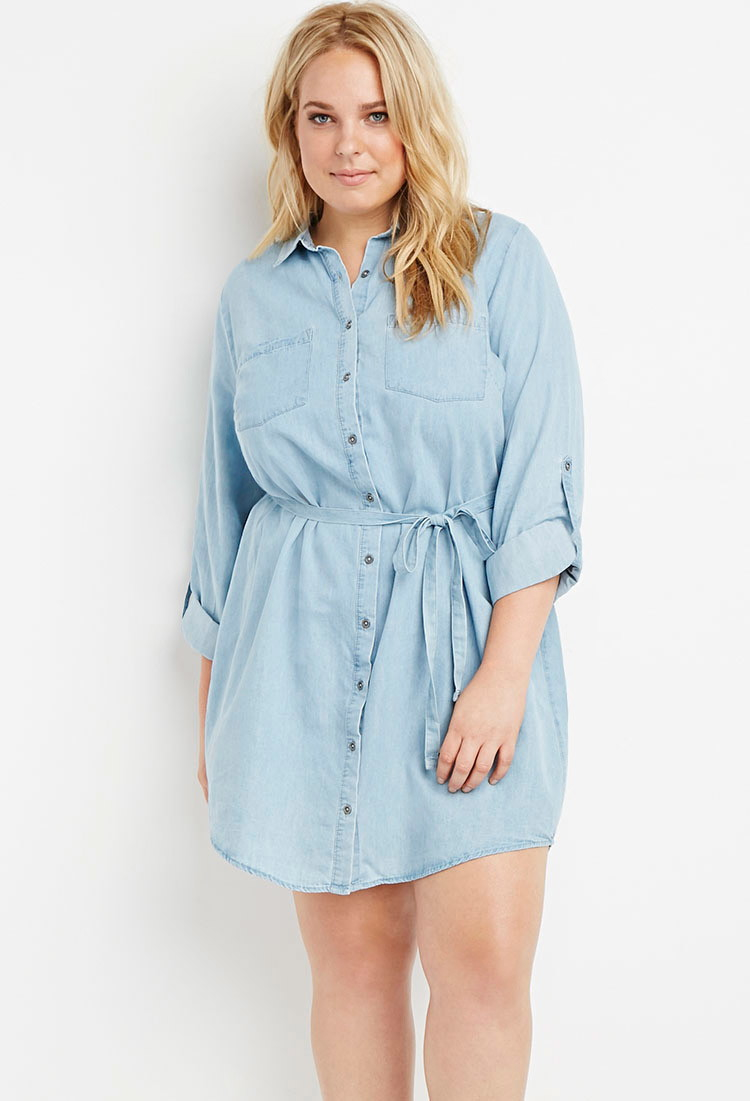 Forever 21 Plus Size Belted Chambray Shirt Dress in Blue | Lyst