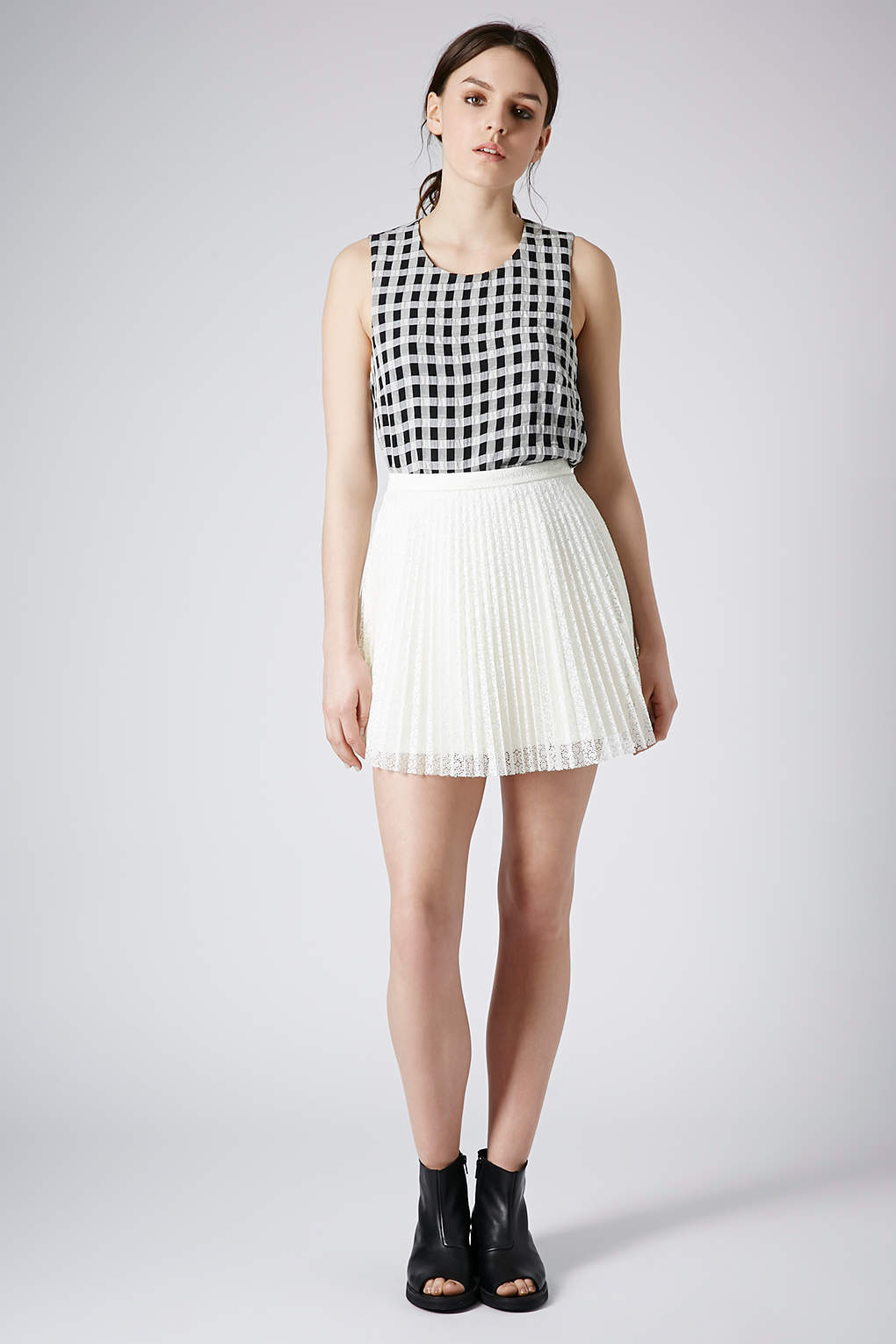 Lyst Topshop Ivory Lace Pleat Mini Skirt In White