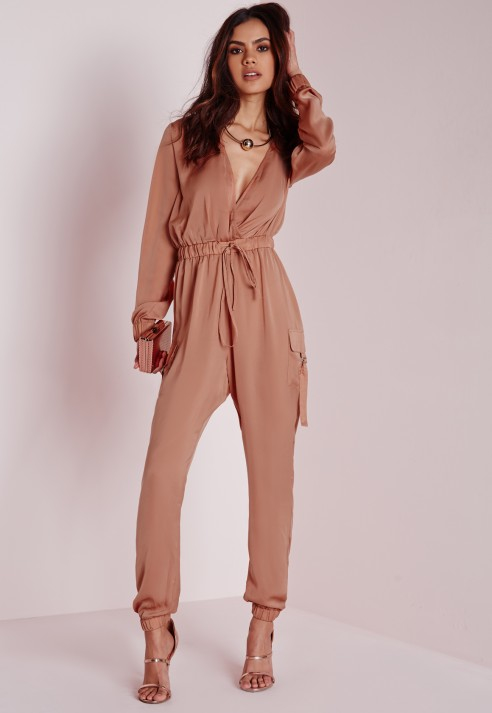 Missguided Satin Long Sleeve Jumpsuit Blush in Pink | Lyst